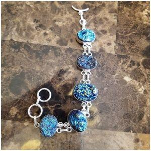 """Jewelry - Blue Titanium Druzy Bracelet 8"""""""